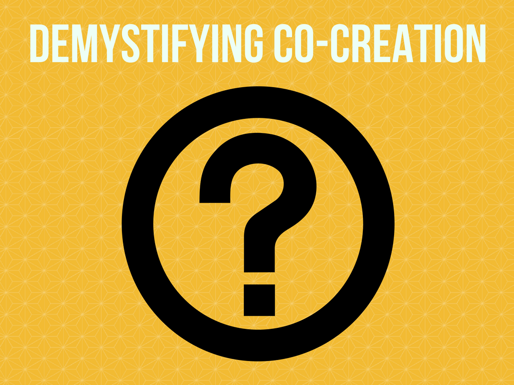 graphic with question mark and the words demystifying co-creation