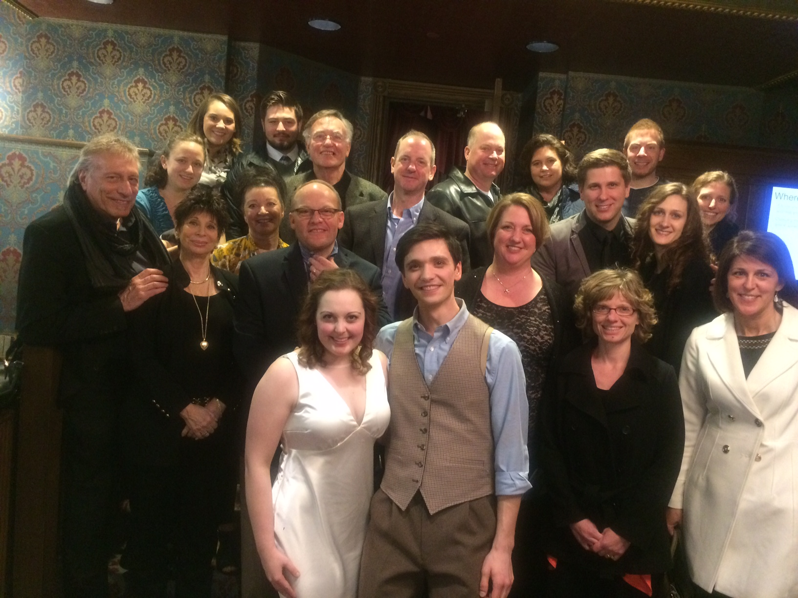 Photo of Romeo and Juliet and the WBD group that attended the play to support Peter Tolly in his leading role
