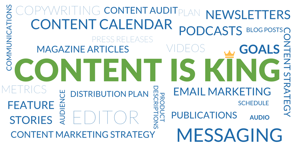 Image of a word cloud with content is king in the center