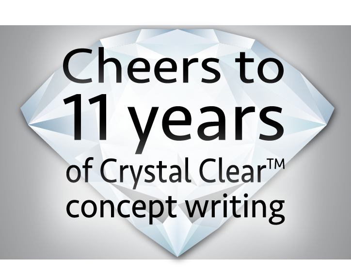 "Image of a crystal with the words, ""Cheers to 11 years of Crystal Clear concept writing"" overtop"