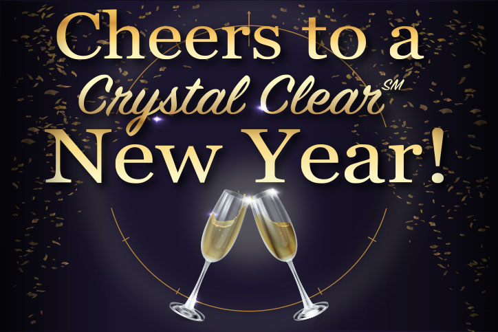 Cheers to a Crystal Clear New Year! image with two champagne glasses