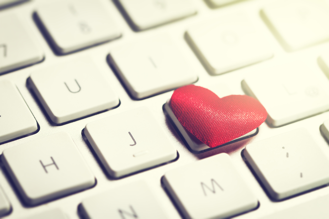 Red heart on a keyboard for Valentine's Day