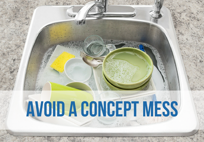"Image of a kitchen sink filled with dishes and soapy water and text over top that says, ""Avoid a concept mess"""