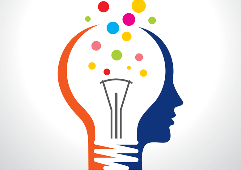 Image of a person's head with a lightbulb inside to represent the creative new product ideas that can result from a co-creation session and professional concept writing services