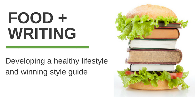 "Image of hamburger buns with books inside and words that say, ""Food + Writing: Developing a healthy lifestyle and winning style guide"""