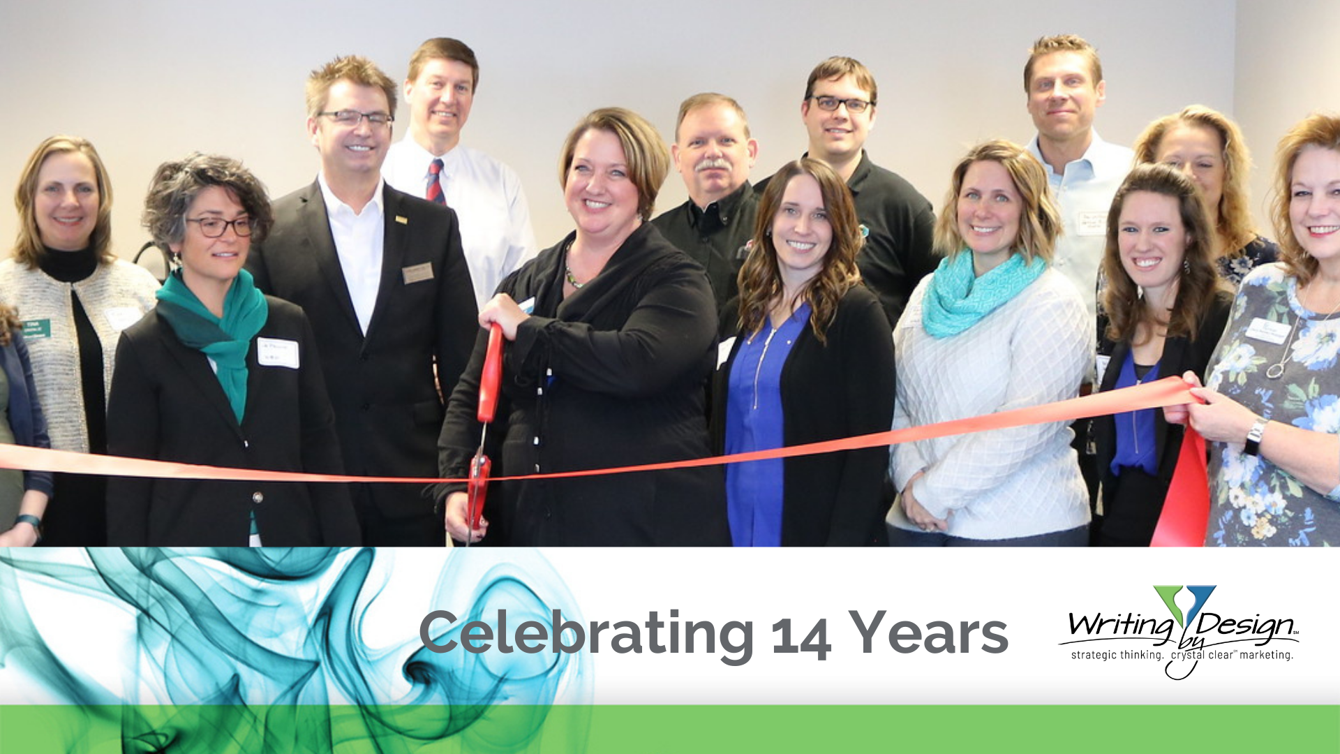 WBD Anniversary Blog Post Photo of Patti at the Writing by Design ribbon cutting ceremony in February 2020